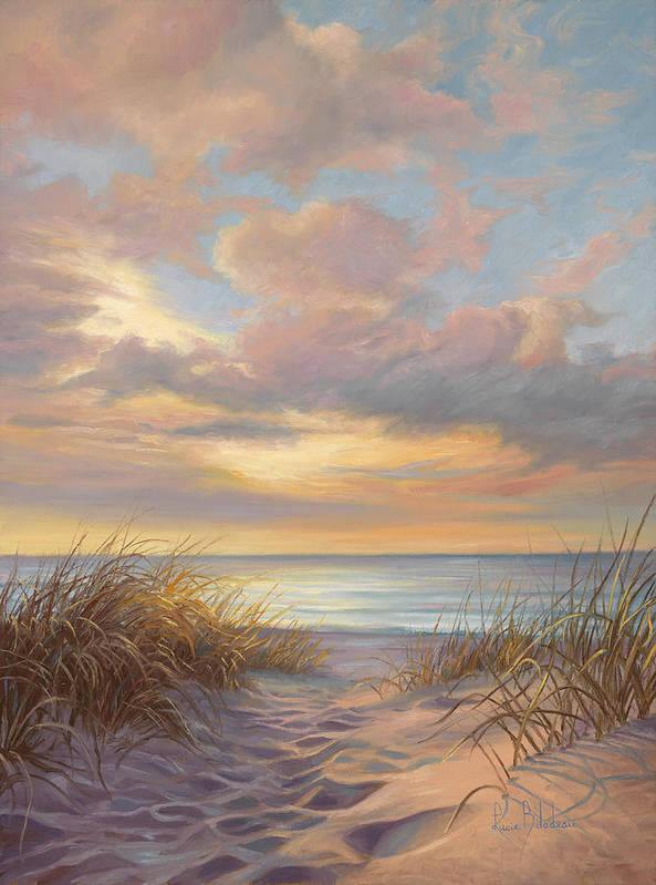 Beach Art Print featuring the painting A Moment Of Tranquility by Lucie Bilodeau
