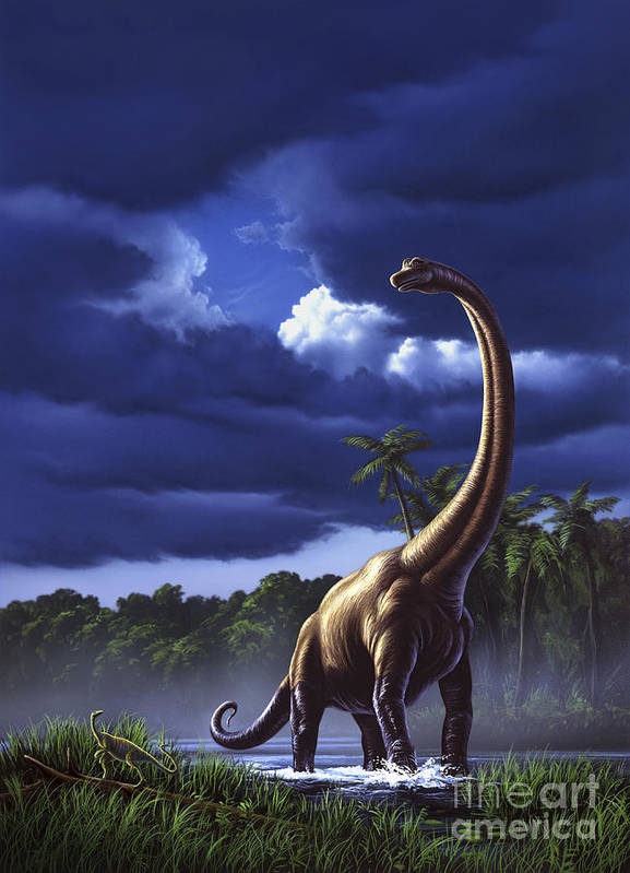 Vertical Art Print featuring the digital art A Startled Brachiosaurus Splashes by Jerry LoFaro