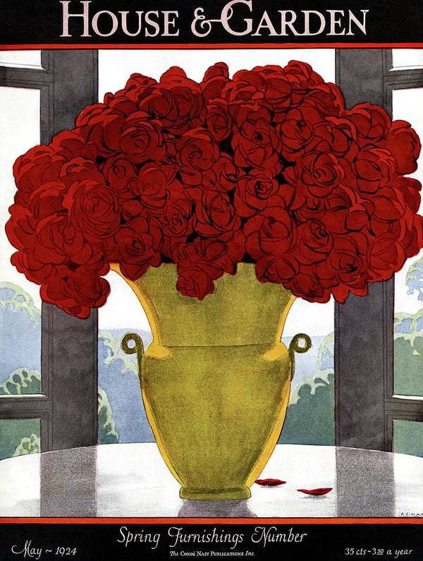 House And Garden Art Print featuring the photograph A Vase With Red Roses by Andre E Marty