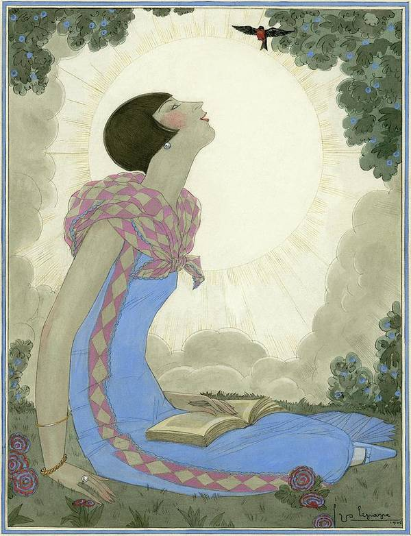 Fashion Art Print featuring the digital art A Woman Looking At A Small Bird by Georges Lepape