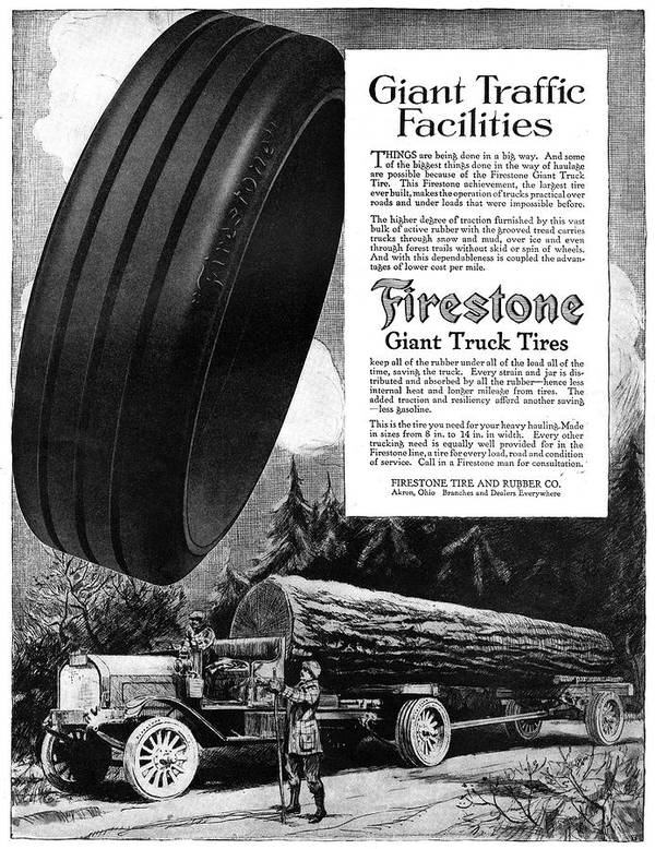 1918 Art Print featuring the painting Ad Firestone, 1918 by Granger