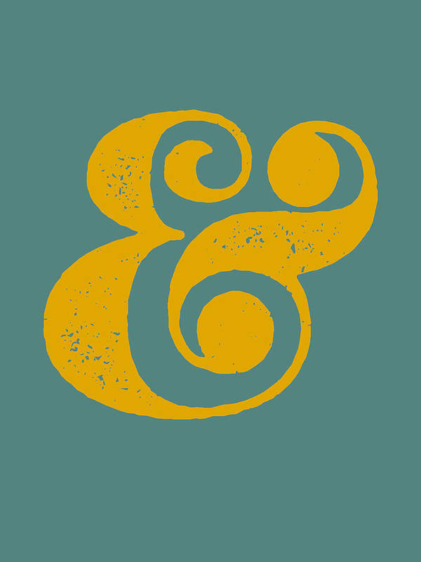 Ampersand Art Print featuring the digital art Ampersand Poster Blue and Yellow by Naxart Studio