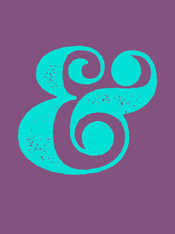 Ampersand Art Print featuring the digital art Ampersand Poster Purple and Blue by Naxart Studio