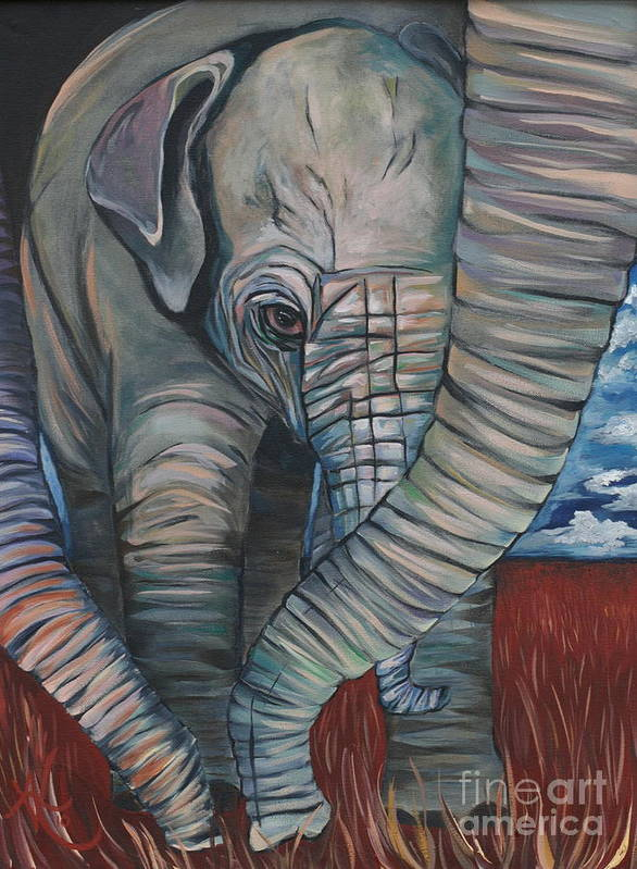 Baby Elephant Art Print featuring the painting Baby Comfort by Aimee Vance