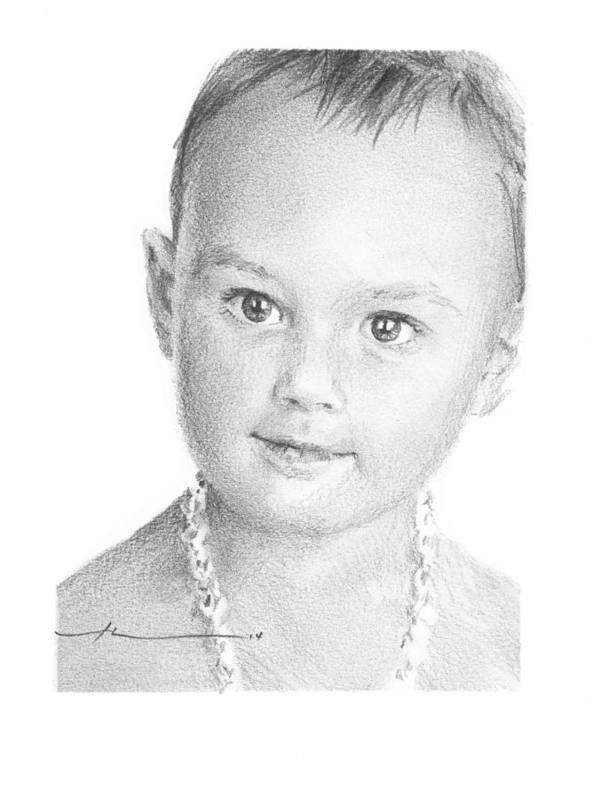 <a Href=http://miketheuer.com Target =_blank>www.miketheuer.com</a> Baby Girl With Necklace Pencil Portrait Art Print featuring the drawing Baby Girl With Necklace Pencil Portrait by Mike Theuer