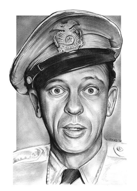 Barney Fife Art Print featuring the drawing Barney Fife by Greg Joens