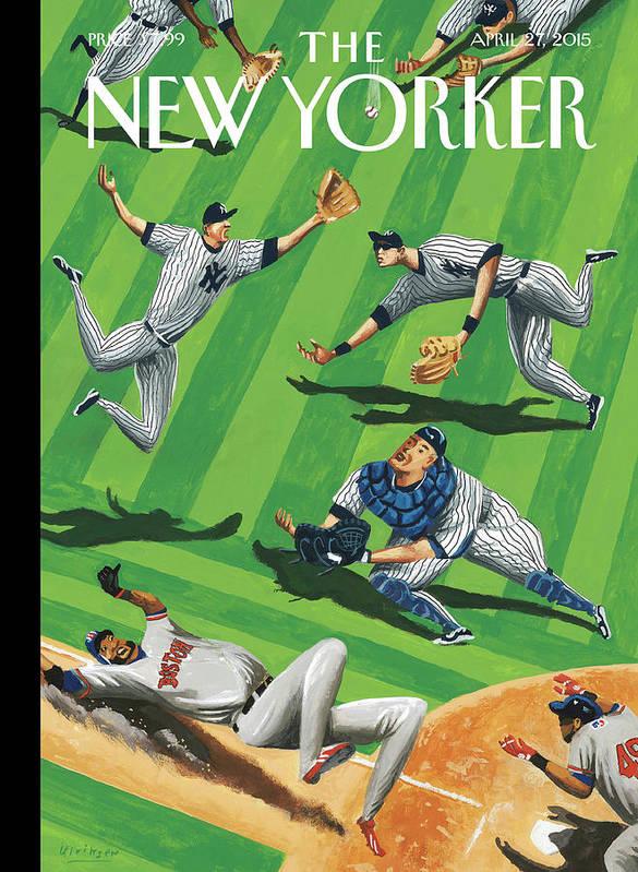 Yankees Art Print featuring the painting Baseball Ballet by Mark Ulriksen