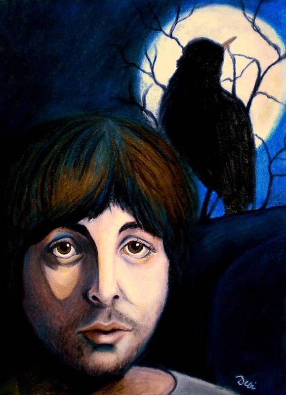 Paul Mccartney Art Print featuring the painting Blackbird by Debi Starr