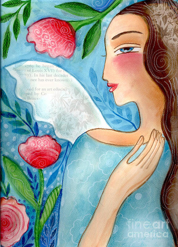 Angel Art Print featuring the mixed media Blue Angel by Elaine Jackson