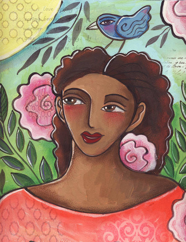 Woman Art Print featuring the painting Blue Bird Of Happiness On My Head by Elaine Jackson
