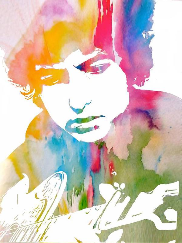 Bob Dylan Watercolor Art Print featuring the painting Bob Dylan Watercolor by Dan Sproul