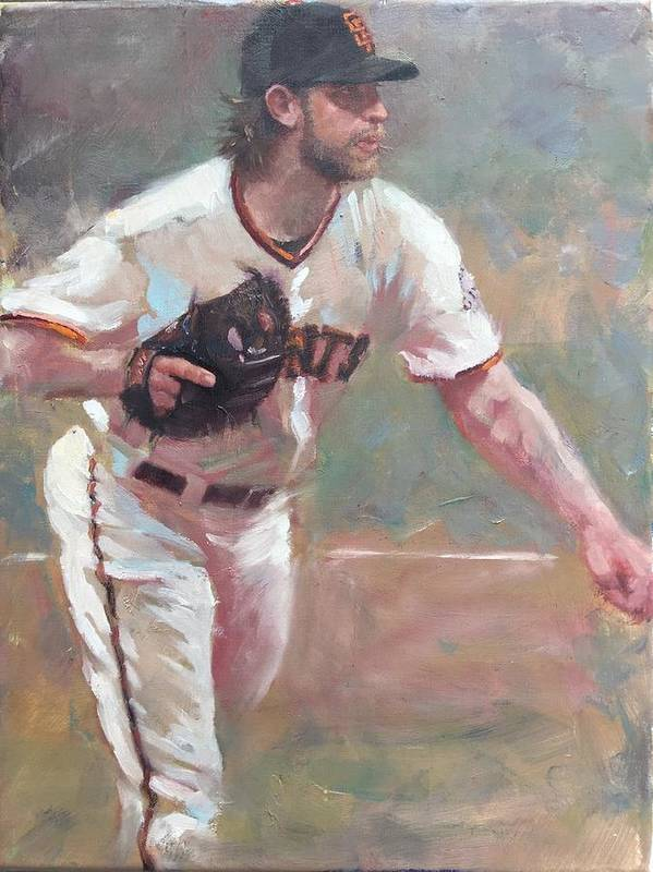 Madison Bumgarner Painting Sf Giants Baseball Artwork Art Print featuring the painting Bumgarner 2014 NLCS by Darren Kerr