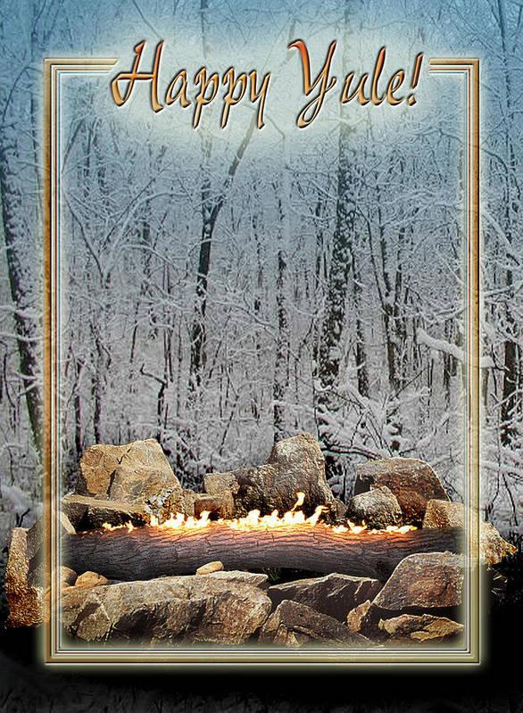 Yule Art Print featuring the digital art Burning Yule Log by Melissa A Benson