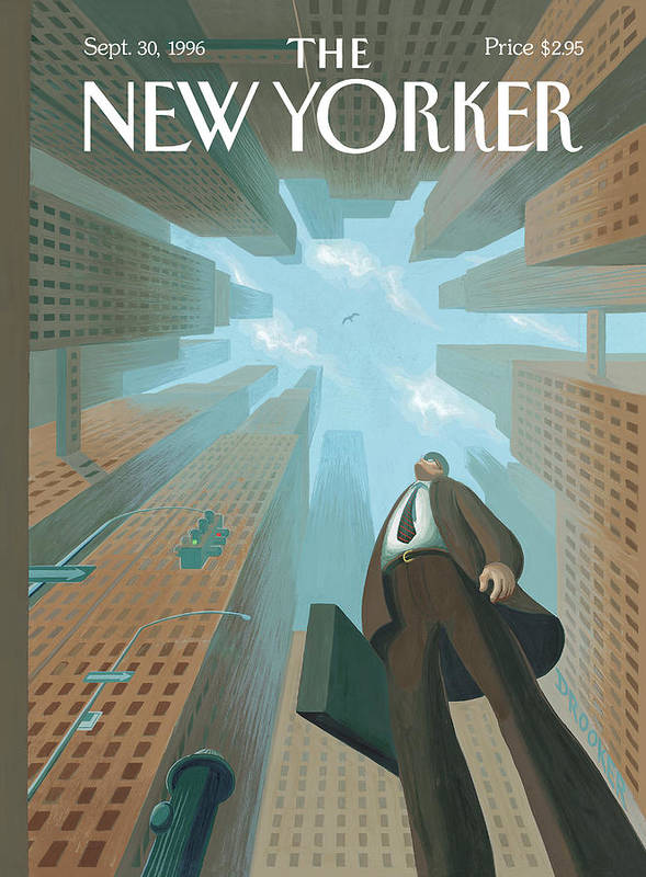 Upwardly Mobile Art Print featuring the painting Businessman Looks Up At Tall Skyscrapers by Eric Drooker