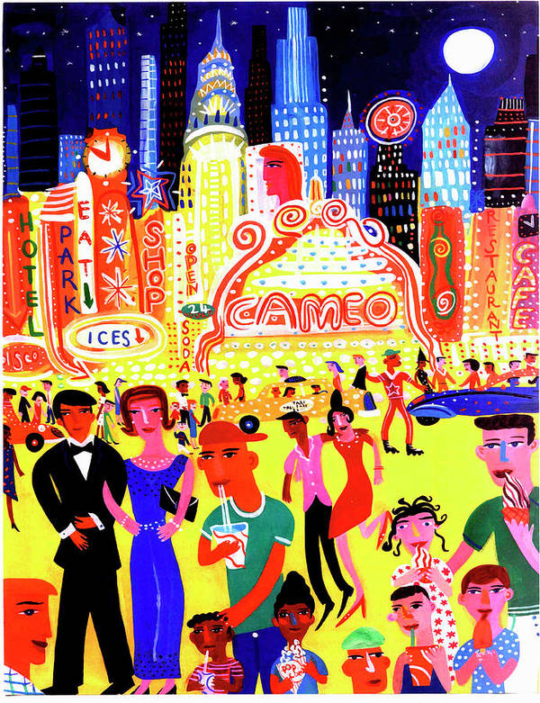 People Art Print featuring the digital art Busy Nightlife In New York City, United by Christopher Corr