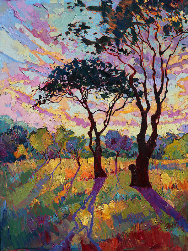 Paso Robles Art Print featuring the painting California Sky Quadtych - Lower Left Panel by Erin Hanson
