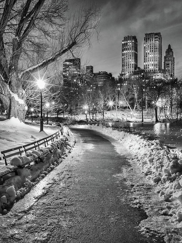 Snow Art Print featuring the photograph Central Park Path Night Black & White by Michael Lee