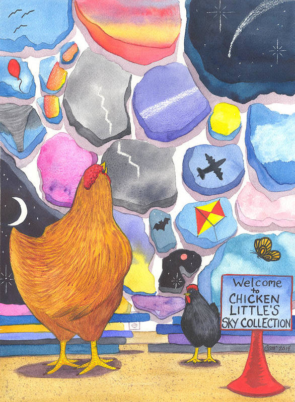 Chicken Art Print featuring the painting Chicken Littles Sky Collection by Catherine G McElroy