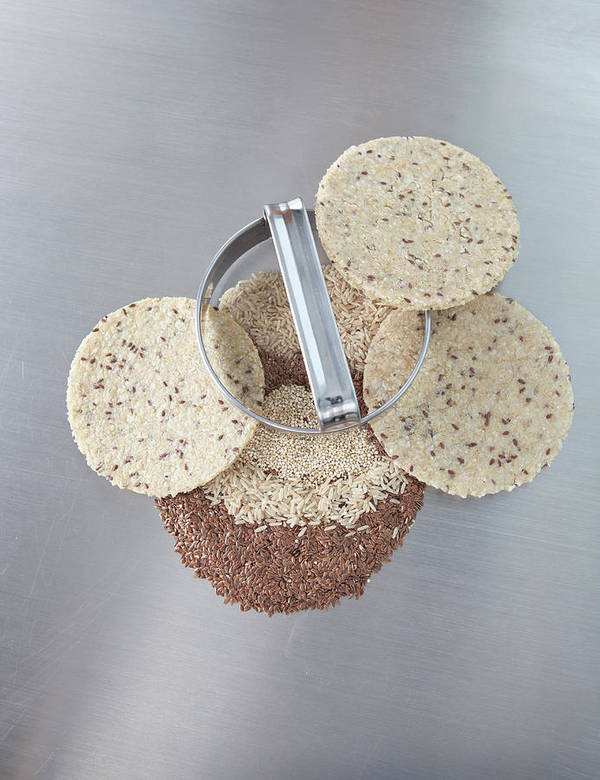 Flax Seed Art Print featuring the photograph Cookie Cutter With Dough Rounds by Laurie Castelli