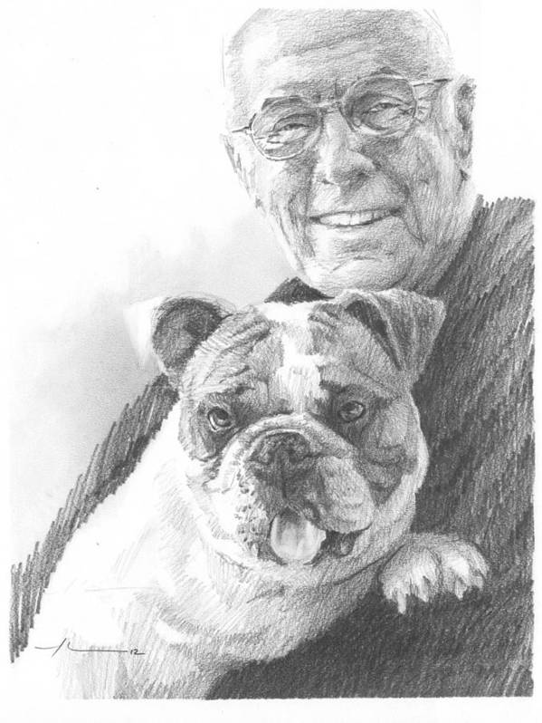 <a Href=http://miketheuer.com Target =_blank>www.miketheuer.com</a> Dad And Dog Pencil Portrait Art Print featuring the drawing Dad And Dog Pencil Portrait by Mike Theuer