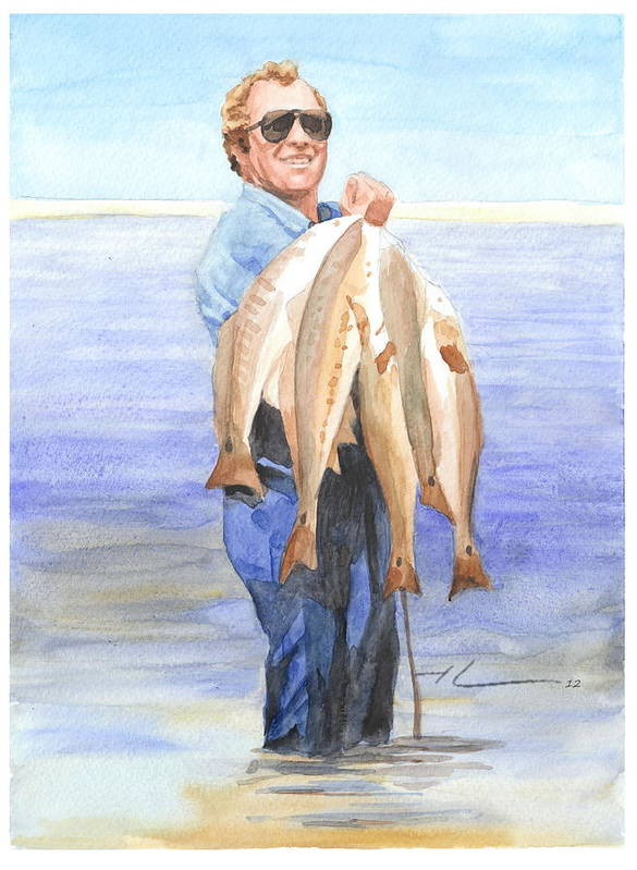<a Href=http://miketheuer.com Target =_blank>www.miketheuer.com</a> Dads Big Fish Catch Watercolor Portrait Art Print featuring the drawing Dads Big Fish Catch Watercolor Portrait by Mike Theuer