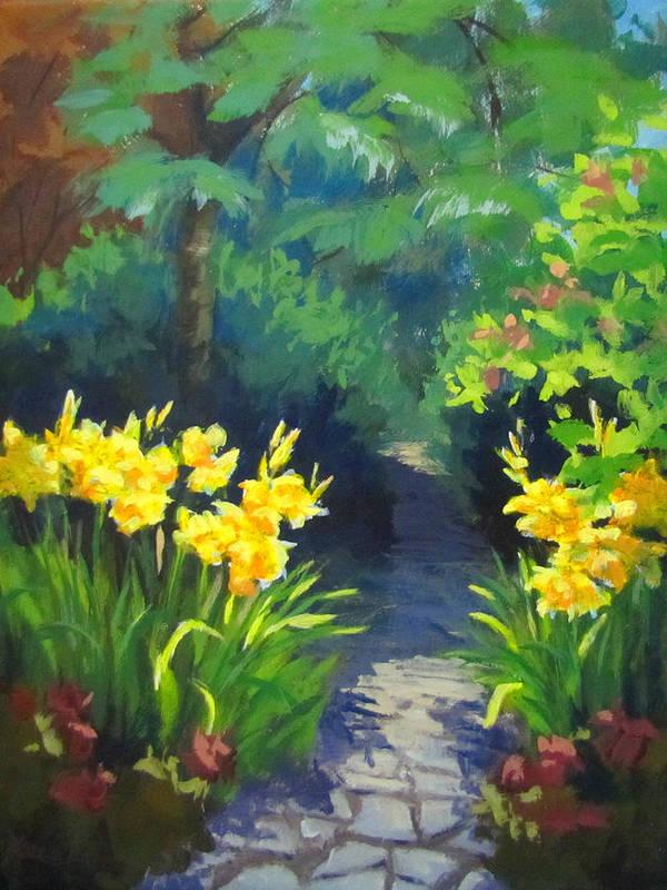 Summer Art Print featuring the painting Discovery Garden by Karen Ilari