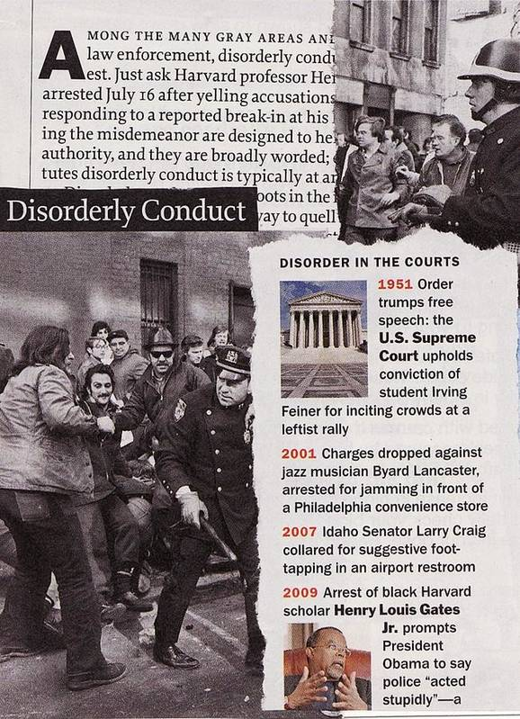 Collage Art Print featuring the mixed media Disorderly Conduct by Matthew Hoffman