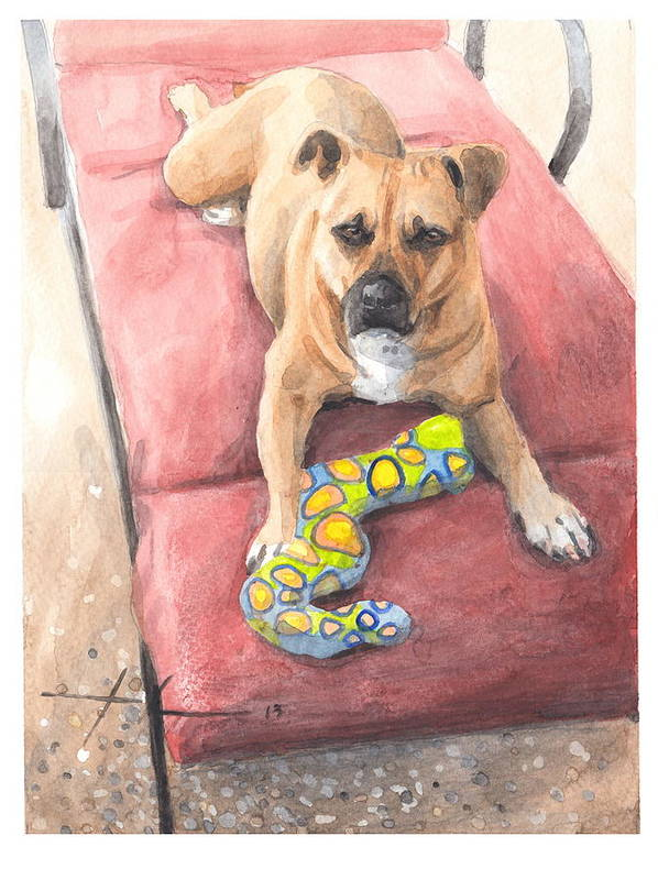<a Href=http://miketheuer.com Target =_blank>www.miketheuer.com</a> Dog On A Lounge Chair Watercolor Portrait Art Print featuring the drawing Dog On A Lounge Chair Watercolor Portrait by Mike Theuer