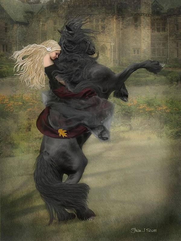 Horses Art Print featuring the mixed media Dream a little dream... by Fran J Scott