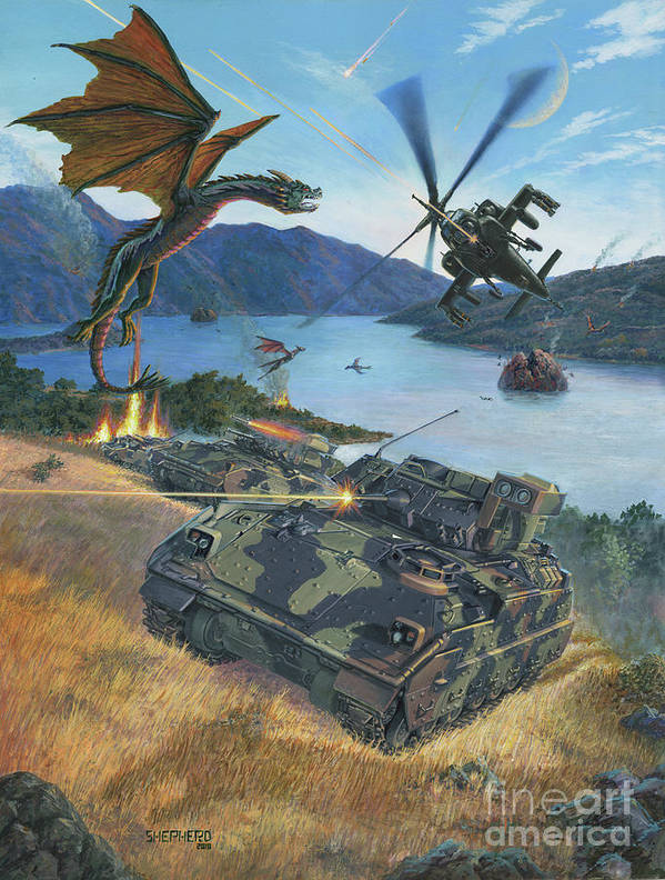 Dragon Art Print featuring the painting First Wave - Clash at Pyramid Lake by Stu Shepherd
