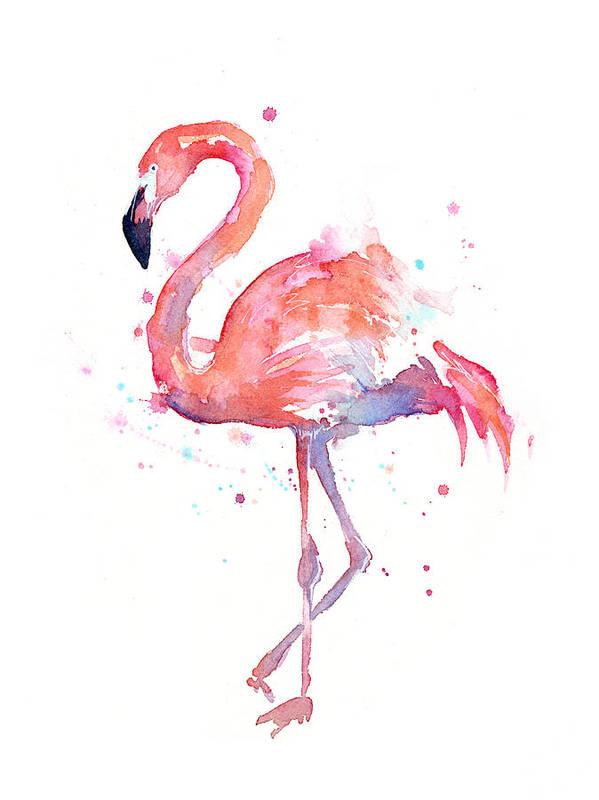 Bird Art Print featuring the painting Flamingo Watercolor by Olga Shvartsur
