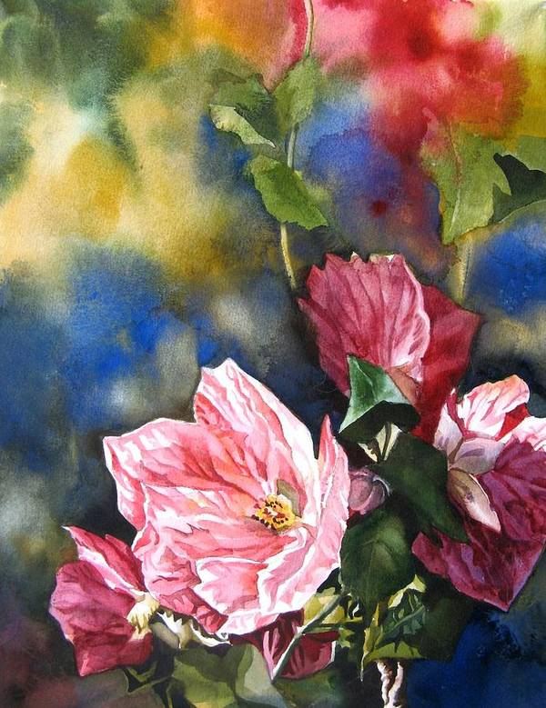 Watercolour Art Print featuring the painting Flowering Maple by Alfred Ng