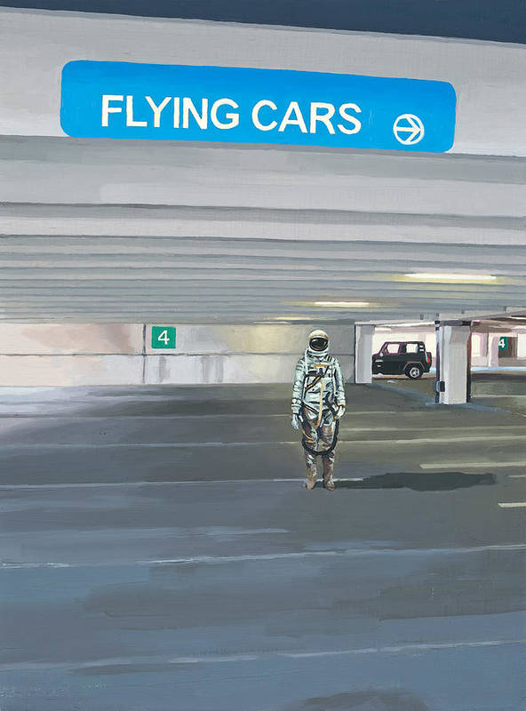 Astronaut Art Print featuring the painting Flying Cars to the Right by Scott Listfield
