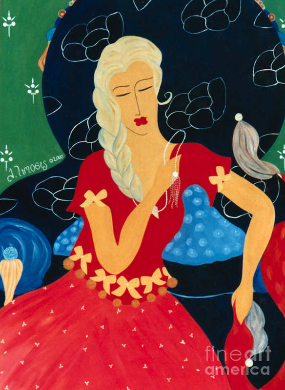 #female Art Print featuring the painting For Savana by Jacquelinemari