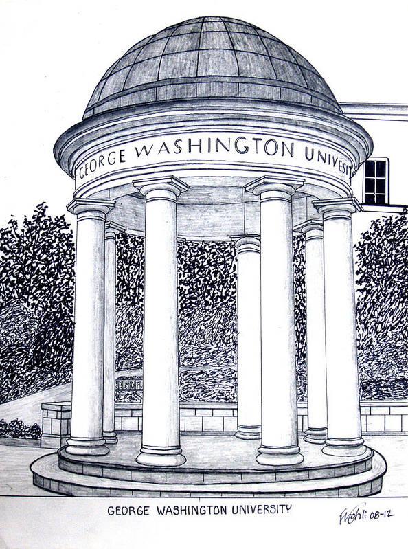 George Washington University Drawing Art Print featuring the drawing George Washington University by Frederic Kohli