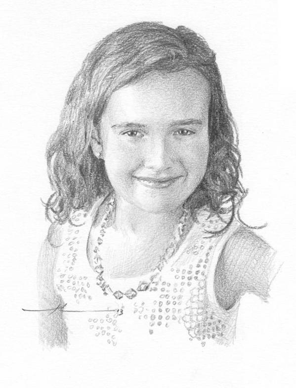 <a Href=http://miketheuer.com Target =_blank>www.miketheuer.com</a> Girl With Necklace Pencil Portrait Art Print featuring the drawing Girl With Necklace Pencil Portrait by Mike Theuer