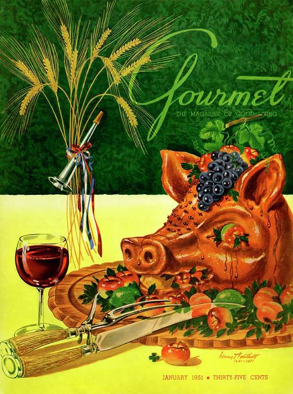 Illustration Art Print featuring the photograph Gourmet Cover Featuring A Pig's Head On A Platter by Henry Stahlhut