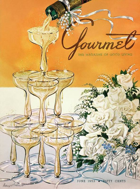 Entertainment Art Print featuring the photograph Gourmet Cover Featuring A Pyramid Of Champagne by Henry Stahlhut