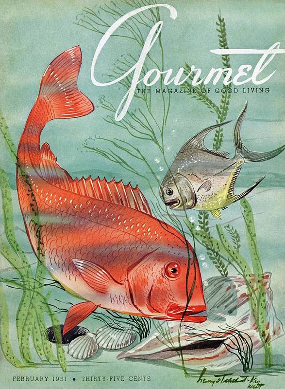 Illustration Art Print featuring the painting Gourmet Cover Featuring A Snapper And Pompano by Henry Stahlhut