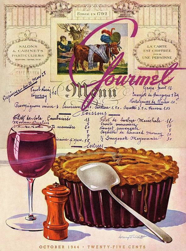 Food Art Print featuring the photograph Gourmet Cover Illustration Of Deep Dish Pie by Henry Stahlhut