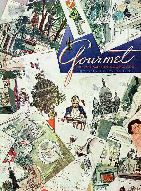 Illustration Art Print featuring the photograph Gourmet Cover Illustration Of Drawings Portraying by Henry Stahlhut