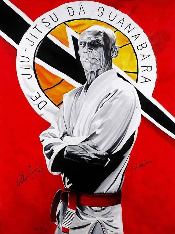 Helio Art Print featuring the painting Grand Master Helio Gracie by Brian Broadway