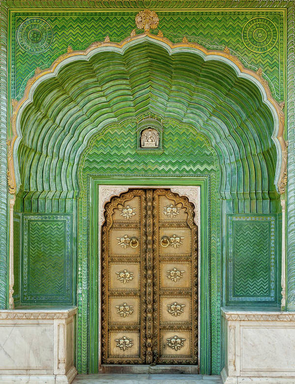 Arch Art Print featuring the photograph Green Gate In Pitam Niwas Chowk by Hakat