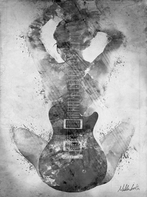 Guitar Art Print featuring the digital art Guitar Siren in Black and White by Nikki Smith