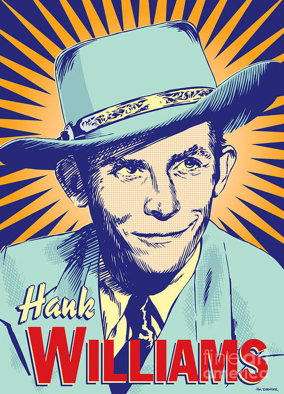 Country And Western Art Print featuring the digital art Hank Williams Pop Art by Jim Zahniser