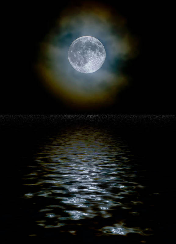 Harvest moon through light clouds with a water reflection Art Print by  Russell Shively