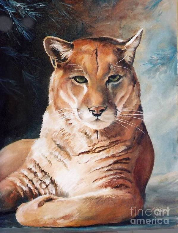 Cougar Art Print featuring the painting Her Majesty by Suzanne Schaefer