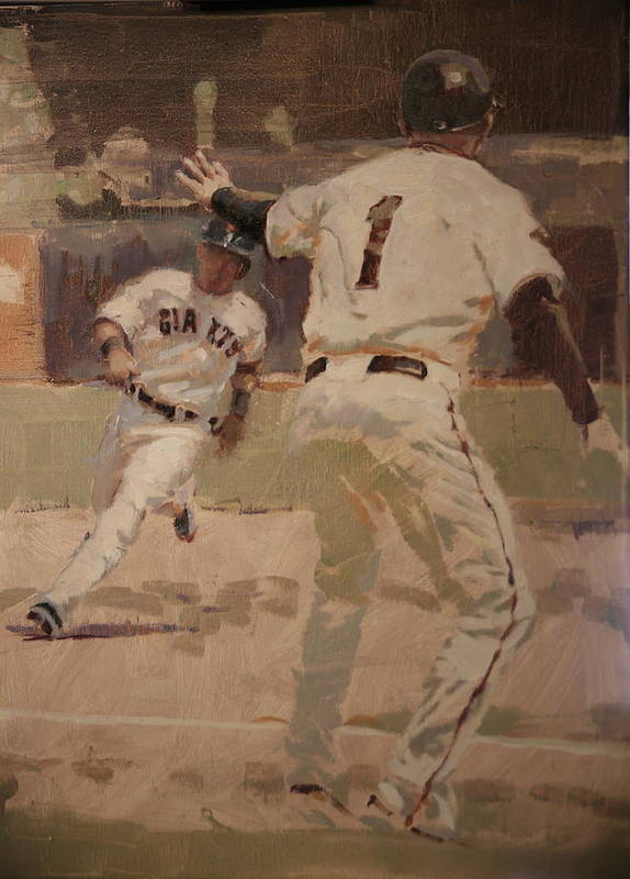Tim Flannery Art Print featuring the painting Hold At Third by Darren Kerr