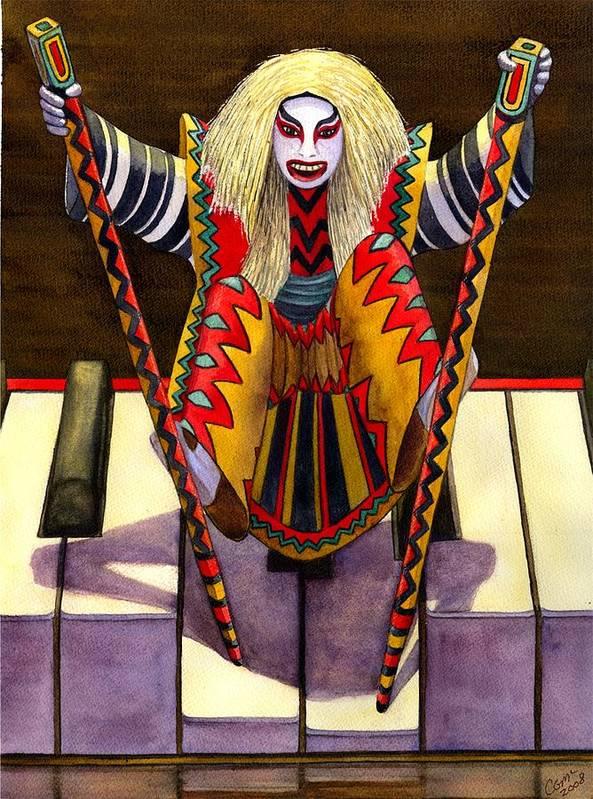 Kabuki Art Print featuring the painting Kabuki Chopsticks 1 by Catherine G McElroy