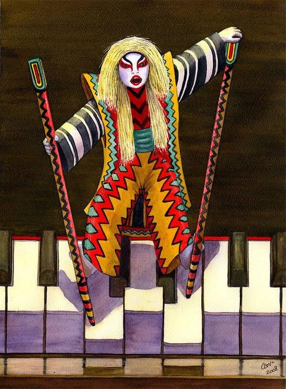 Kabuki Art Print featuring the painting Kabuki Chopsticks 2 by Catherine G McElroy